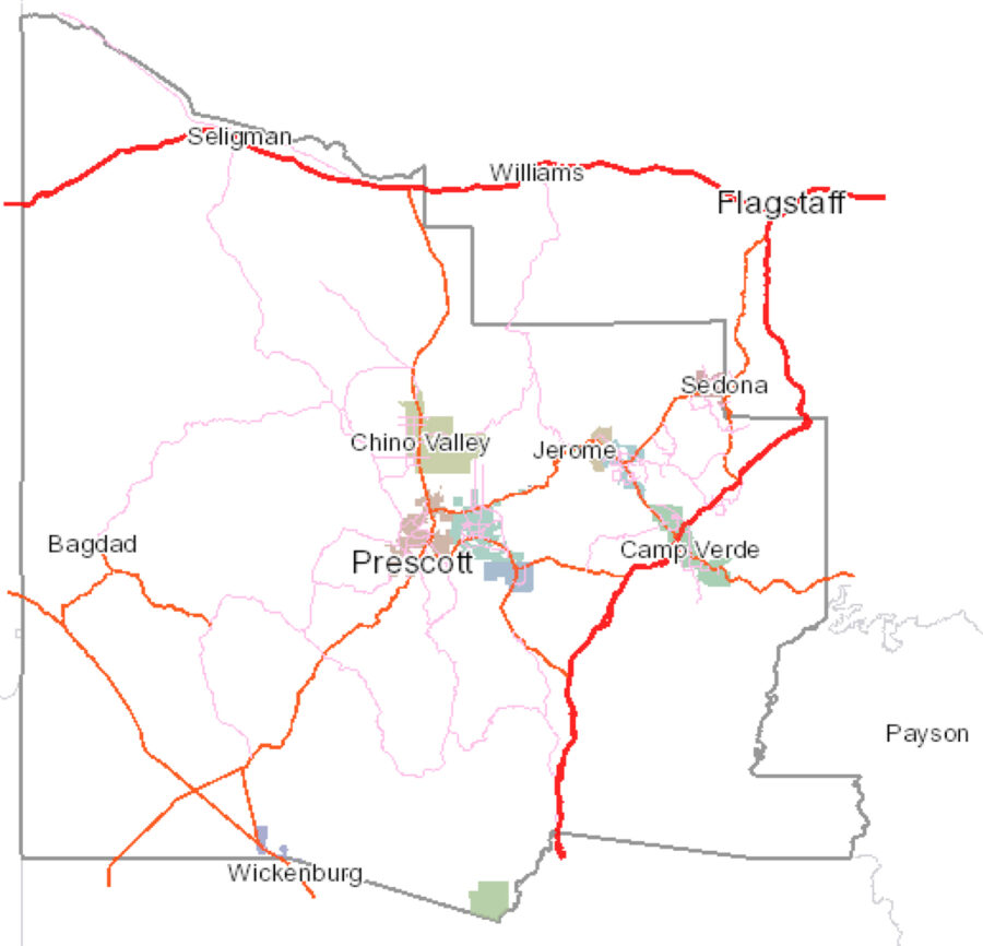 Yavapai County Map - Our Propane Service area